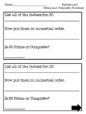 Factors, Prime and Composite Numbers Worksheet