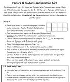 Factors & Products Multiplication Sort
