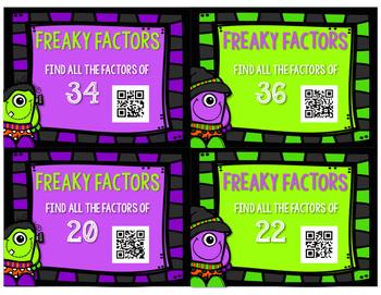 Factors Task Cards - Find the Factors - Freaky Factors
