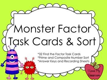 Factors Task Cards and Prime/Composite Number Sort