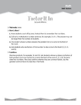 Factors (Ten-Minute Activities)