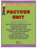 Factors Unit - Includes GCF, Factorization, Prime/Composit