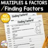 Finding Factors Worksheets - 4.OA.4