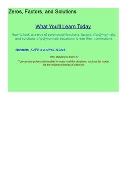 Factors, Zeros, and Solutions SmartBoard Lesson