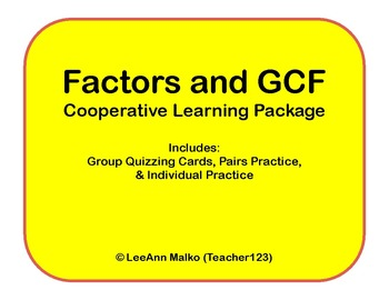 Factors and GCF Cooperative Learning Package