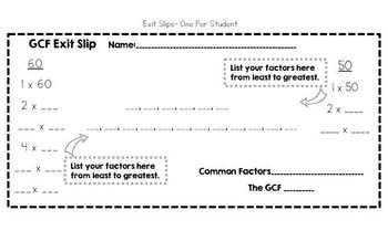 Factors and Greatest Common Factor (GCF)- Interactive Notebook and Exit Slips