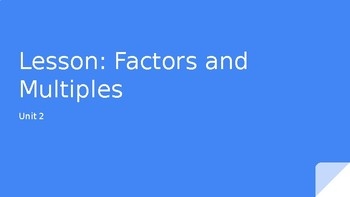 Factors and Mulitples Powerpoint