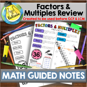 Factors and Multiple Review - Guided Notes / Interactive Notebook