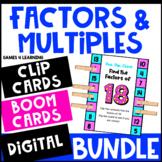 Factors and Multiples Activities - Clip Cards Bundle