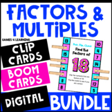 Factors and Multiples Activities Bundle: BOOM Cards, Clip Cards, TpT Digital