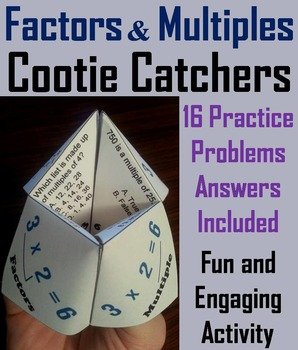 Factors and Multiples Practice Activity for 4th, 5th, 6th Grade