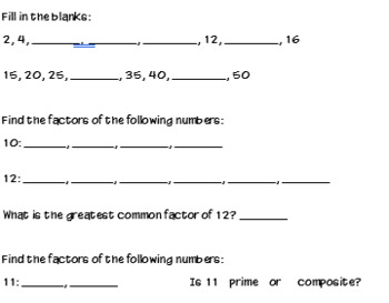 Factors and Multiples Activities