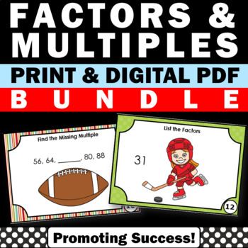 Factors and Multiples Activities BUNDLE of Task Cards SCOOT Scavenger Hunt