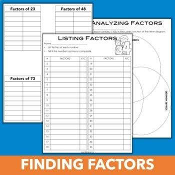 Factors and Multiples Activities Bundle
