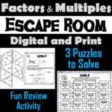 Factors and Multiples Activity: Escape Room Math Breakout Game