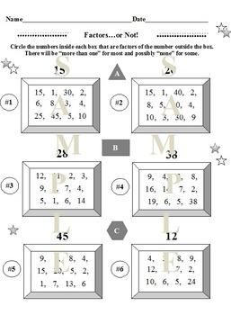 Factors and Multiples Bundle 12 Worksheets