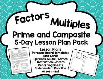 Factors and Multiples Bundle: 5 Day Lesson Plan Pack