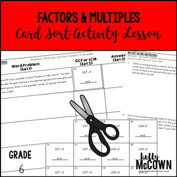 Factors and Multiples Card Sort Activity Lesson
