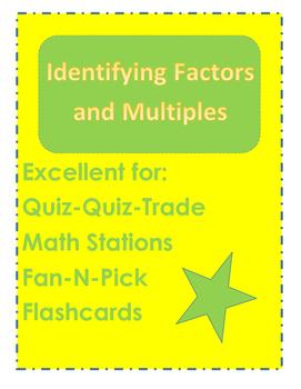 Factors and Multiples Quiz Quiz Trade Cards
