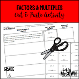 Factors and Multiples Cut and Paste Activity