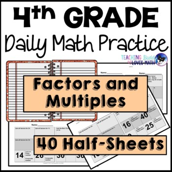 Factors and Multiples Daily Math Review 4th Grade Bell Ringers Warm Ups