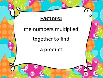 Factors and Multiples Definitions