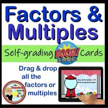 Factors and Multiples Digital Practice BOOM Cards - 24 Self-checking cards!