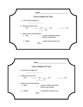 Factors and Multiples Exit Ticket