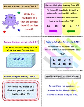 Factors and Multiples FREE Activity Cards PREVIEW