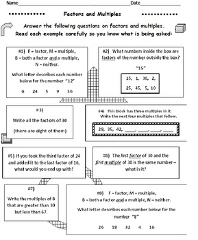 Factors and Multiples Worksheets FREE PREVIEW