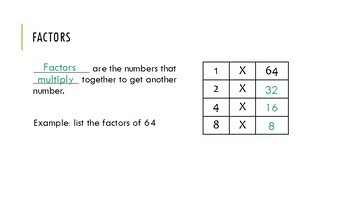 Factors and Multiples Foldable and Checkpoint