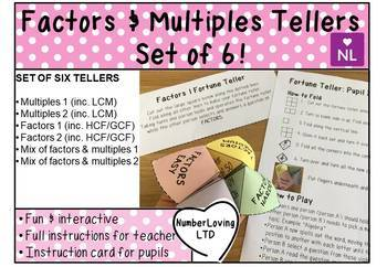 Factors and Multiples (Fortune Teller/Cootie Catcher)