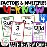 Factors and Multiples Game: U-Know | Review 4th Grade  {4.OA.4}