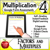 Factors and Multiples Google Form Assessments 4th grade Ma