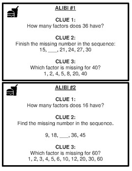 Factors and Multiples Mystery Activity