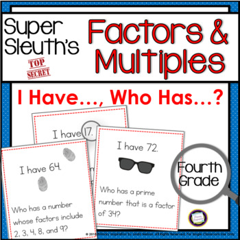 Factors and Multiples I Have Who Has Game