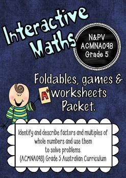 Factors and Multiples Interactive Notebook Packet Australi