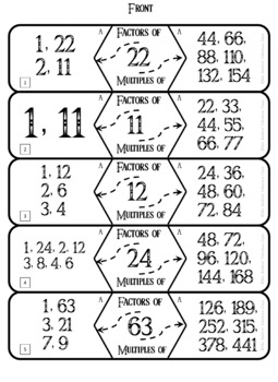 Factors and Multiples Math Center Activity