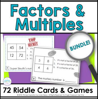 Factors and Multiples Math Riddle Task Cards Bundle