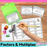 4th Grade Math: Factors and Multiples Task Cards: Math Cen
