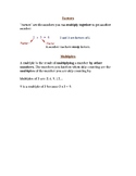 Factors and Multiples Notebook Page