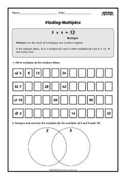 Factors and Multiples Number Workbook incl. Lowest and Greatest Common