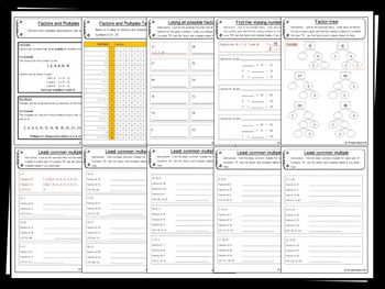 Factors and Multiples Pack – 25+ worksheets/printables