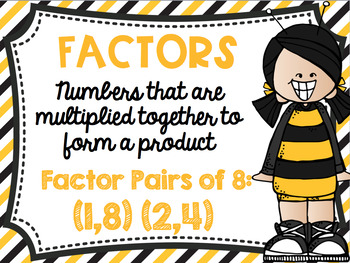 Factors and Multiples Poster Anchor Chart FREEBIE Bee Theme