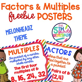Factors and Multiples Poster Anchor Chart FREEBIE Colorful  Cute Kids Theme