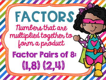 Factors and Multiples Poster Anchor Chart FREEBIE Superhero Theme