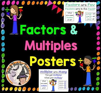 Factors and Multiples Posters Prime Factorization Multiplication Multiply Factor