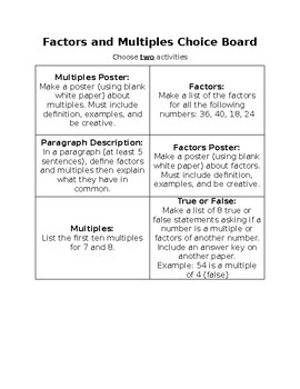 Factors and Multiples / Prime and Composite Choice Boards