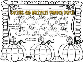 Factors and Multiples Pumpkin Patch