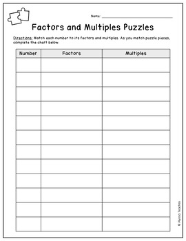 Factors and Multiples Puzzles FREEBIE
